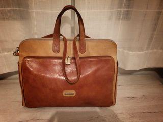 Bolso maletín cuero natural auténtico