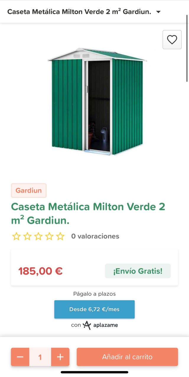 Caseta Metálica Milton Verde 2 m²