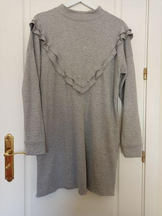 vestido gris sudadera Talla M zara