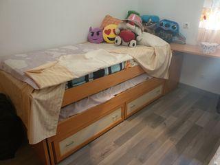cama doble nido con cajonera y zapatero