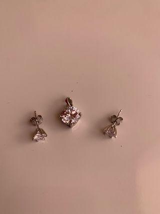 Conjunto Pendientes y colgante de plata