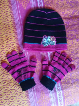 gorro y guantes monster high niña