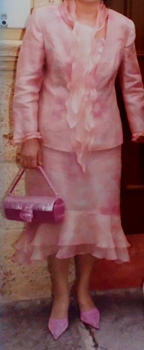 traje o vestido madrina 3piezas tonos rosados