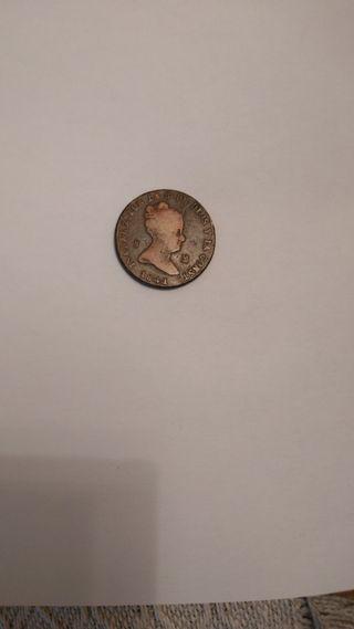 moneda de bronce Isabel II 1841