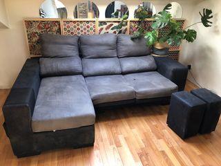 Sofa dos plazas mas chesslong y dos puff