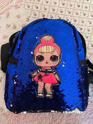 Mochila - bolso de lentejuelas Azul LOL reversible