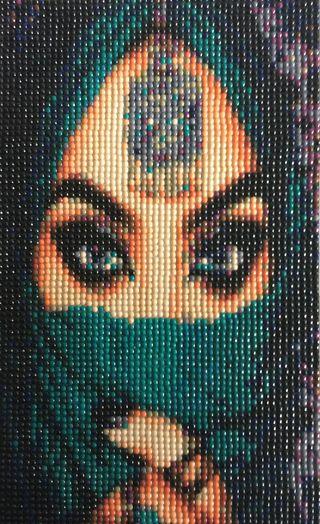 """Punto de cruz diamante """"Mujer árabe, con pañuelo"""""""