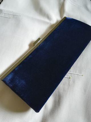 Bolso cartera Zara fiesta clutch azul noche