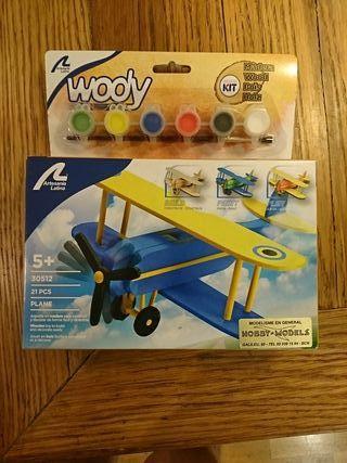 Maqueta infantil avión madera