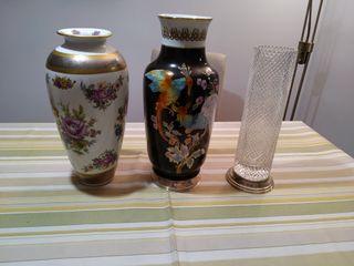 Jarrones Vintage Casa Alba, vidrio, pie plata