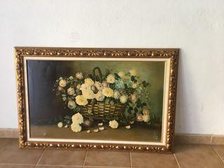 Cuadro pintado al óleo flores vintage fecha 1960