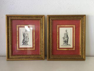 Láminas estilo clásico marco madera dorada