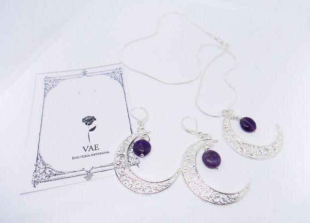 Conjunto collar y pendientes Luna con Amatista