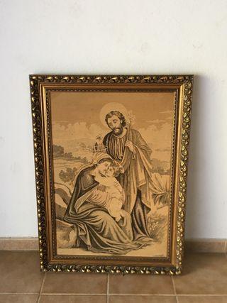 Tapiz escena religiosa marco madera dorada