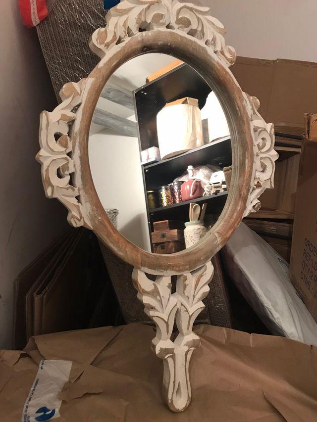 Espejo decorativo blanco decape