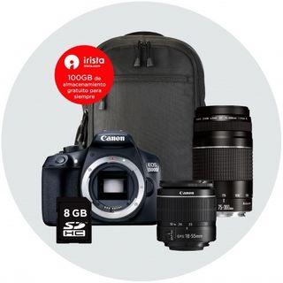 Canon EOS 1300D con 2 objetivos 18-55 y 75-300mm