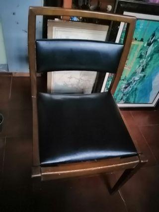 2 sillas piel madera muy cómodas y anchas
