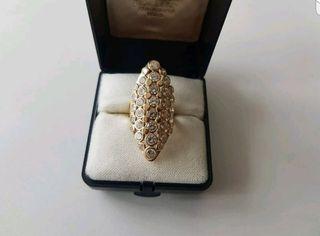 impresionante anillo de oro 14kt