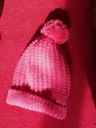 gorro lana rosa