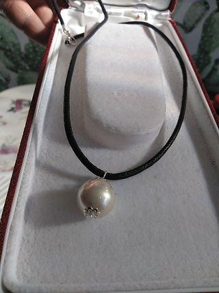 perla majorica para cuello cordón