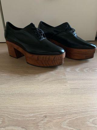 Zapatos plataforma madera Uterqüe NUEVOS