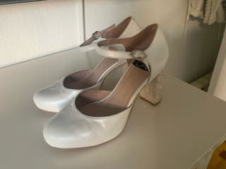 Zapatos LAB de novia fiesta con brillo en el tacón
