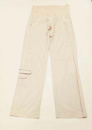 Pantalón recto beige claro