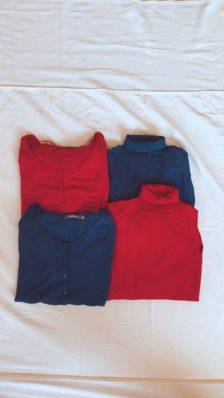 Jersey suéter chaqueta punto roja azul