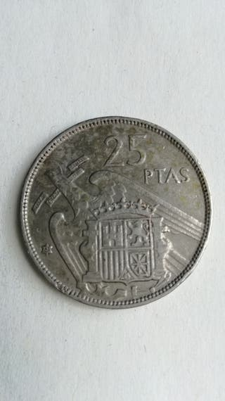 25 PESETAS 1957 ESTRELLA *61* CON PLUS. DIFICIL