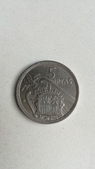 5 PESETAS 1957 *58* CON PLUS. ESPAÑA DIFICIL.