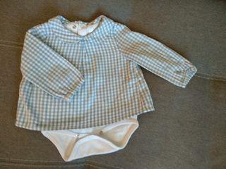 Blusa body de cuadros talla 3-6 meses.