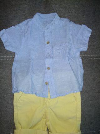 Conjunto short y camisa 0-3 meses