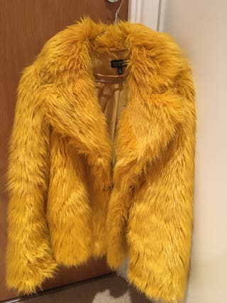 Mustard Yellow Fluffy Coat from Topshop