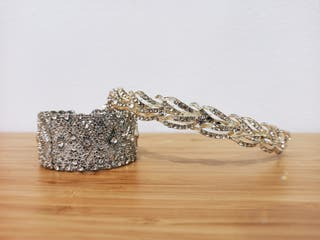 tiara y brazalete para boda o evento
