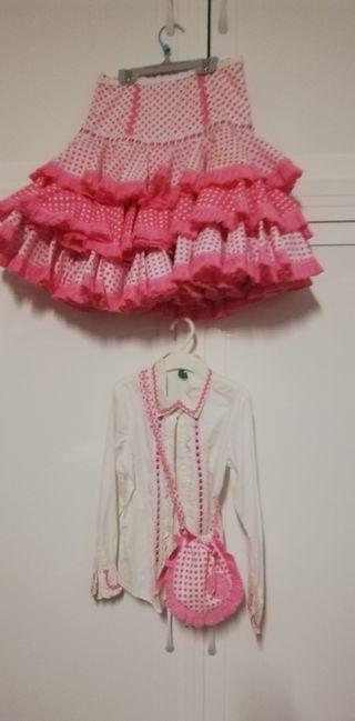 falda y blusa flamenca niña