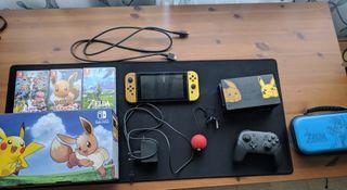 Nintendo Swich con juegos y mando pro