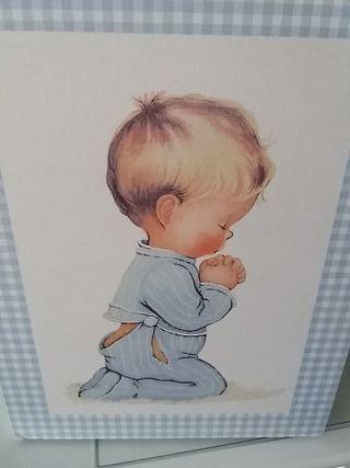 Cuadro tela niño rezando