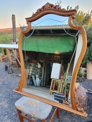 Espejo antiguo madera maciza grande