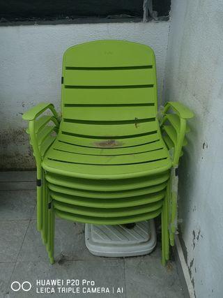 seis sillas de jardín para mesa de té