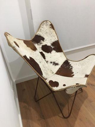 Sillón de piel de vaca