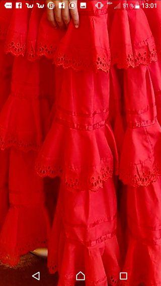 Vestido Sevillana Rojo Coral para 10 o 11 años