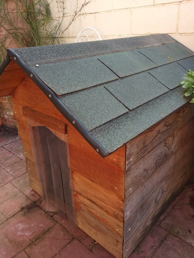 Estupenda caseta de madera para perros.