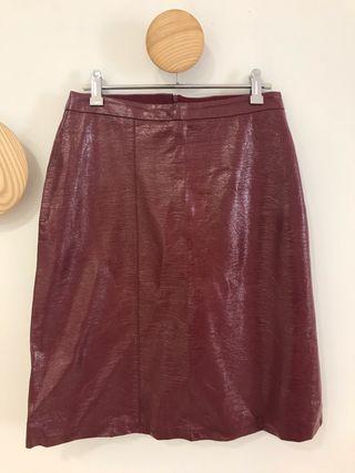 Falda piel plastificada ZARA