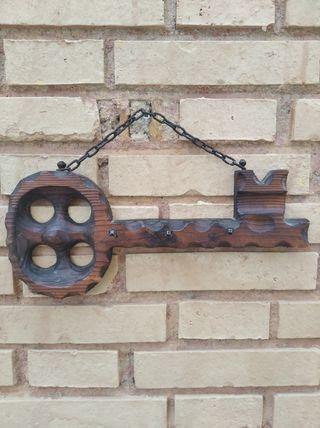 Cuelga llaves antiguo madera maciza Vintage año 50