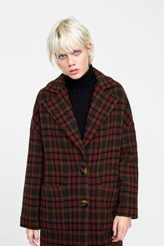 Abrigo Oversize cuadros Zara