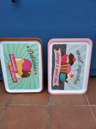 Bandeja de cocina vintage años 70/80 cupcake