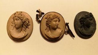 3 camafeos finales S.XIX de lava del Vesubio.