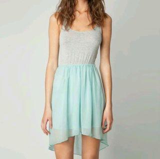 Vestido tirantes asimétrico bicolor