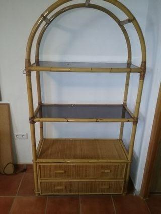 mueble mimbre estanteria