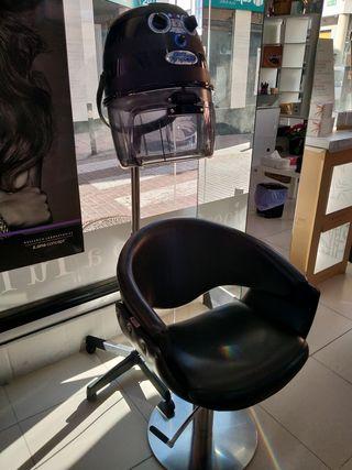 secador de pie y silla de peluquería